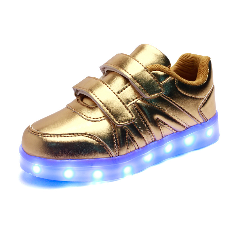 2017 New Kids Boys Girls USB Charger Led Light Shoes High Top Luminous Sneakers casual Lace Up Shoes Unisex Sports for children 25 40 size usb charging basket led children shoes with light up kids casual boys