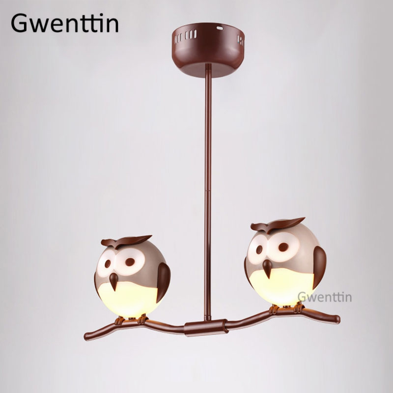 Animal Owl Pendant Light Fixtures Led Modern Hanging Lamp ...