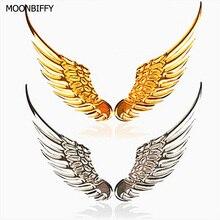 1 пара, стильные модные металлические наклейки для автомобиля, 3D крылья, автомобильные наклейки, аксессуары для автомобиля, мотоцикла, золото/серебро