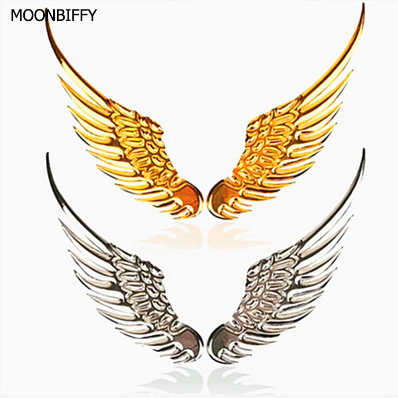1 Pair Car Styling Fashion Metal Stickers 3D Wings Car Sticker Car Motorcycle Accessories Gold/silver auto accessories chameleon sticker 30m 1 52m functional car pvc red copper color stickers home decorative films stickers