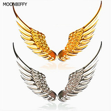 1 Pair Car Styling Fashion Metal Stickers 3D Wings Car Sticker Car Motorcycle Accessories Gold silver