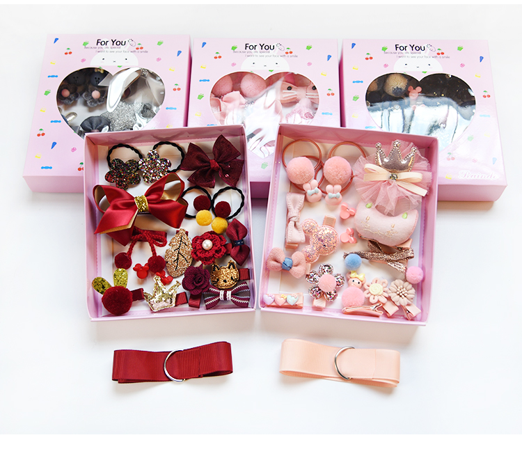 18 Pcs/Box Children Cute Hair Accessories Set Baby Fabric Bow Flower Hairpins Barrettes Hair Clips Girls Headdress Gift With Box