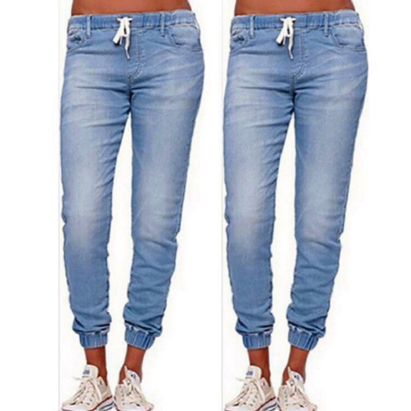 5xl plus size 2019 Women Elastic Waist Casual Denim Jeans ladies summer High Waist Blue Black Pants Skinny vintage jean mom jean