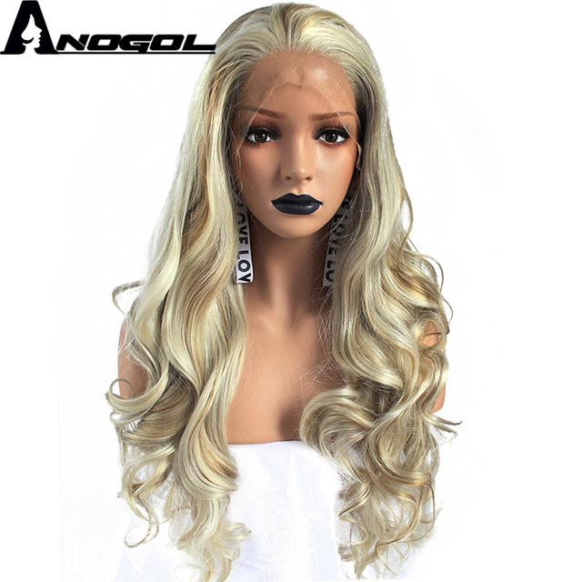 Anogol High Temperature Fiber Peruca 360 Frontal Long Body Wave Full Hair  Wig Blonde Synthetic Lace Front Wig For Women Costume ceabd8c96d