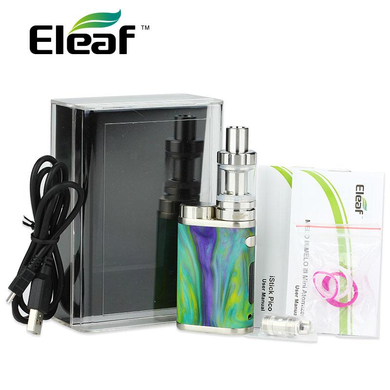 Prix pour Nouvelle D'origine Eleaf iStick Pico RÉSINE Kit 75 W w/Melo 3 Mini réservoir 2 ml et 75 W Pico Résine Mod 510 Fil E Cig Aléatoire couleur