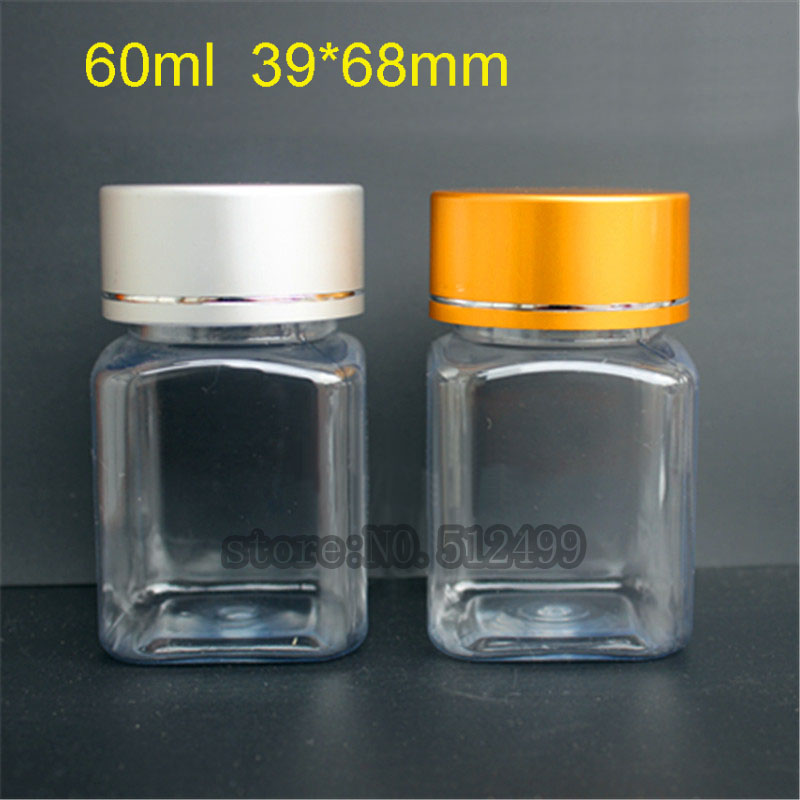 Free shipping 60ml PET transparent polyester bottle Metal cover powder bottle plastic subpackage bottle Pressure-sensitive pad free shipping 60ml 20 50pcs lot transparent pet medicine refillable bottle capsules liquid packing bottle with white screw cap