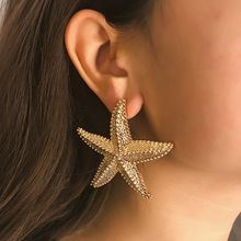 Simple hemp face exaggerated Earrings female personality stereo starfish national wind Earrings