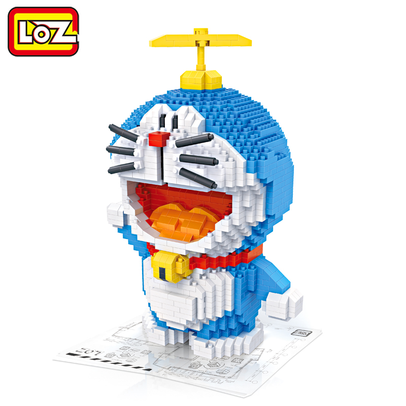 LOZ Doraemon Coin Piggy Bank Building Blocks Primitive Man Action Figure Toy Figures Anime Giant Block Toys for Children loz 280pcs l 9522 deadpool action figure building block educational diy toy