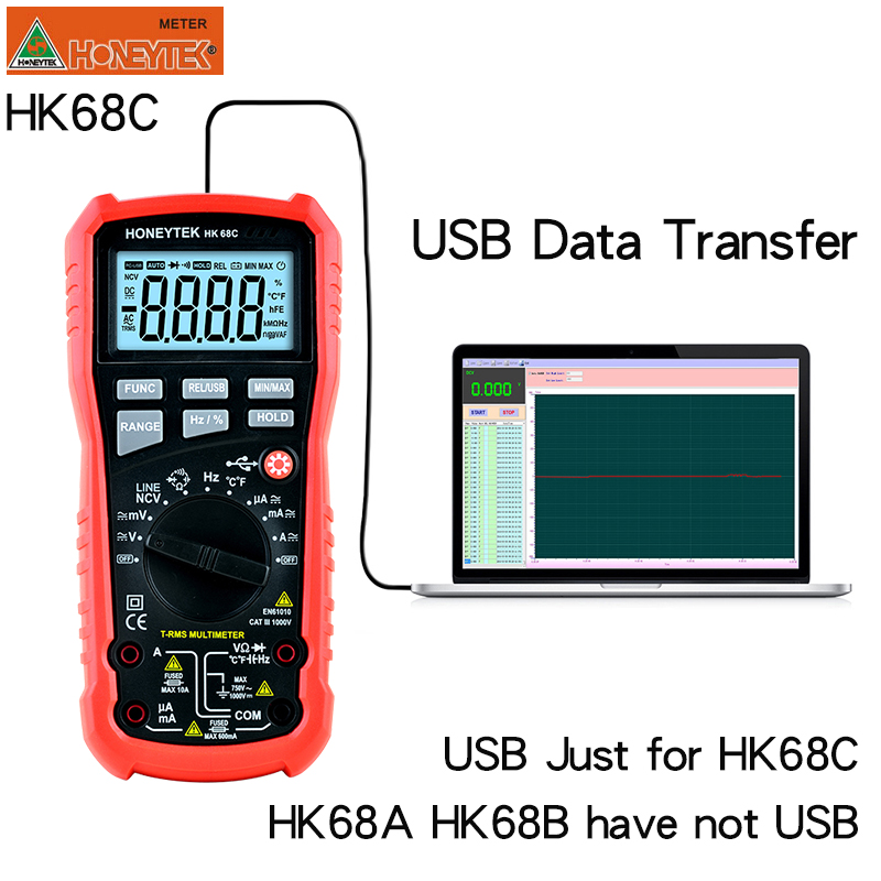HONEYTEK Usb Multimeter True RMS Professional Digital Multimeter Temperature AC/DC Voltmeter Continuity Test NCV Multi Meter Multimeters     - title=