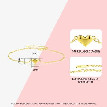 Cute Heart 14K Gold Bracelets & Charm 2