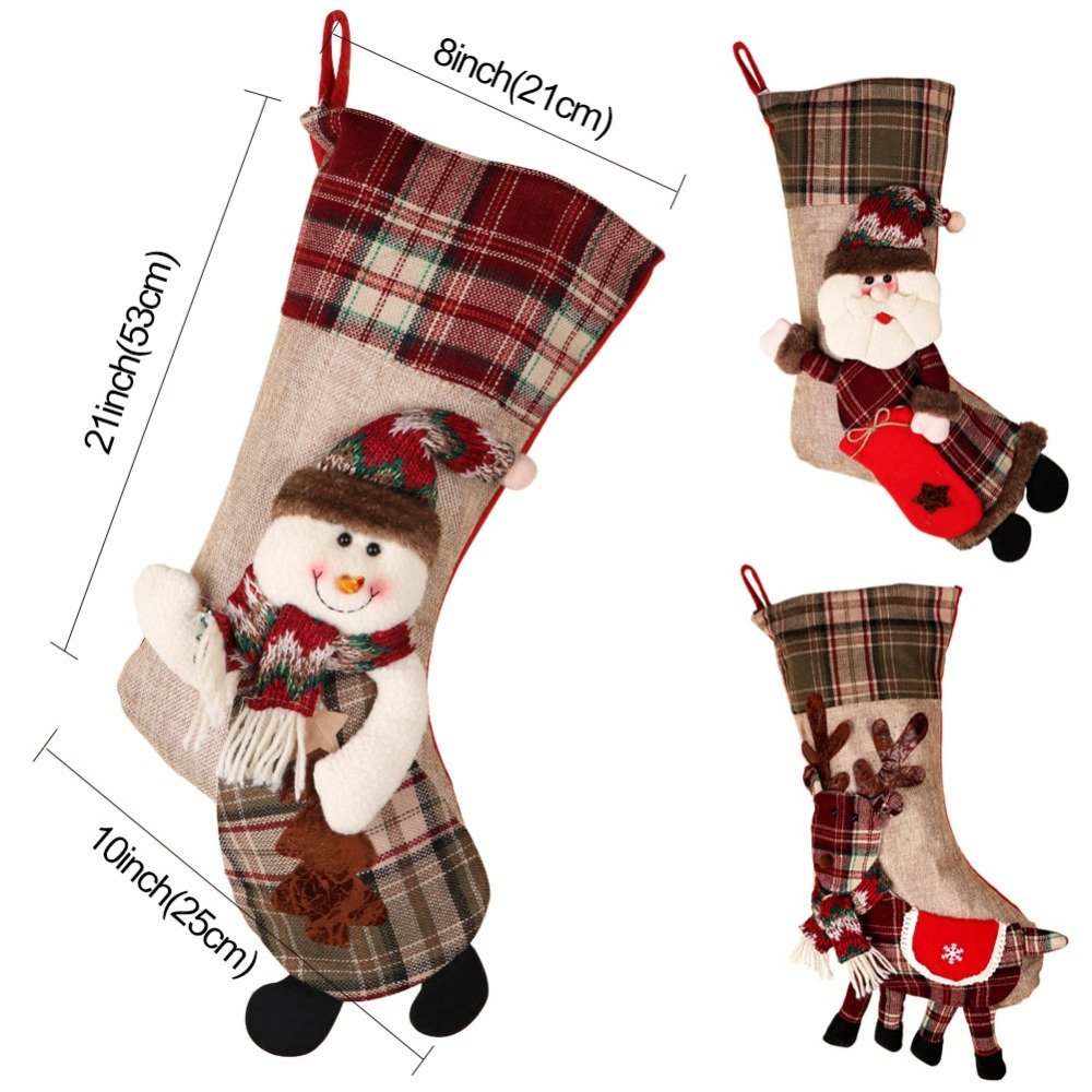 Image 5 - OurWarm Large Christmas Stocking Santa Claus Sock Plaid Burlap Gift Holder Christmas Tree Decoration New Year Gift Candy Bags-in Stockings & Gift Holders from Home & Garden