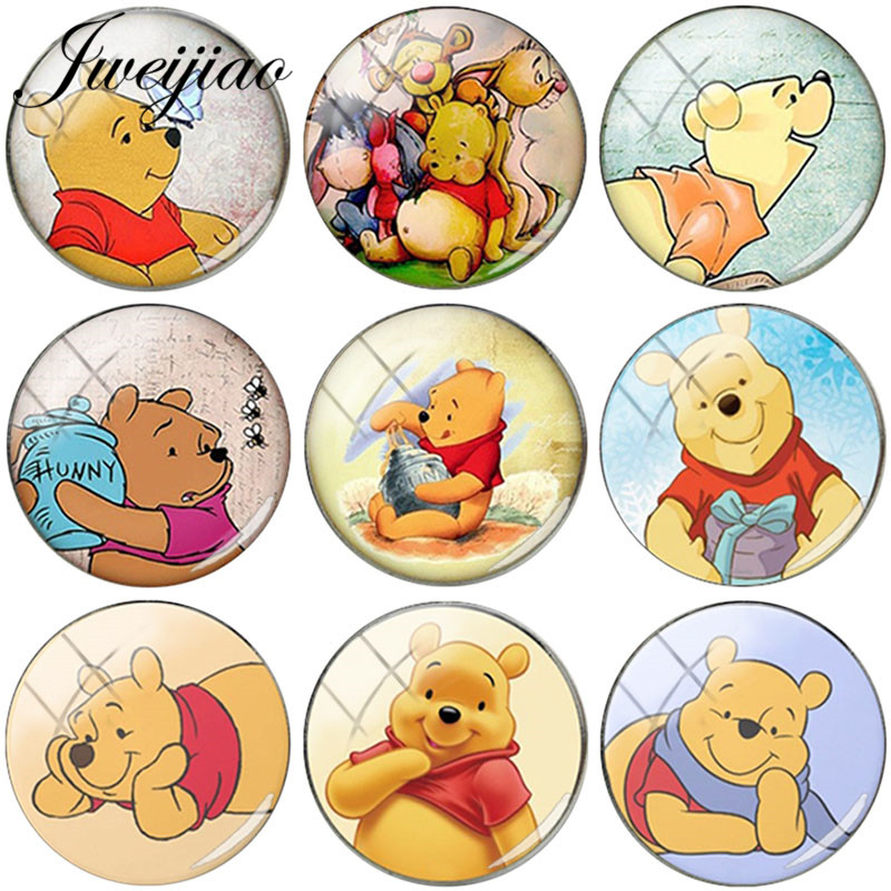 JWEIJIAO DIY Findings Handmade Jewelry Glass Cabochon Photo Round Dome Cartoon Lovely