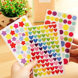 6 Sheets Stickers Diary Planner Heart Star circle letter smile face Decoration Journal Scrapbook Albums Photo stickers GYH