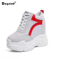 DAGNINO 2018 Summer High Heels Breathable Platform Casual Shoes Women Height Increasing Shoes 12 CM Thick
