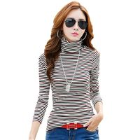 Pure Cotton Autumn New Women Fashion Turtleneck T Shirt Black And White Striped Tshirt Women Long
