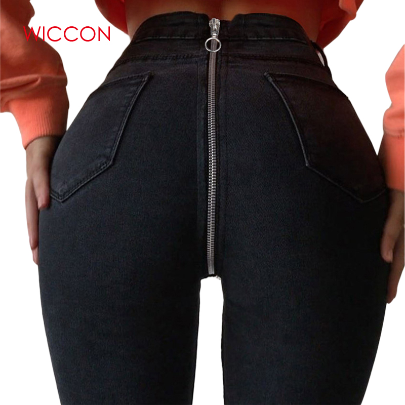 2019 New Women High Waist Skinny Jeans With Zipper In The Back New Vintage Push Up Black Jeans Femme Fitness Denim Pants
