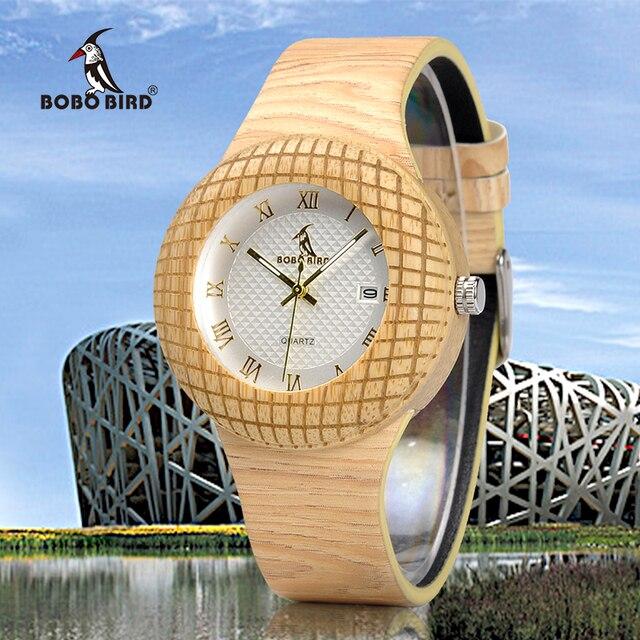 BOBO kuş kadın ahşap saatler bayanlar Metal anlamıyla ile deri kayışlar takvim kol saati gösterisi tarihi özel logo kuş yuvası