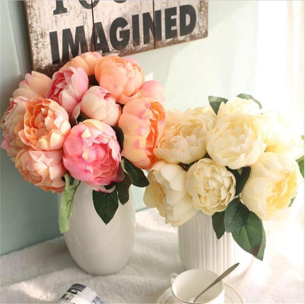 실크 플라워 꽃다발 웨딩 꽃의 신부 신부 들러리의 꽃다발 실크 모란 꽃의 하녀를위한 명예 8 꽃 / 세트