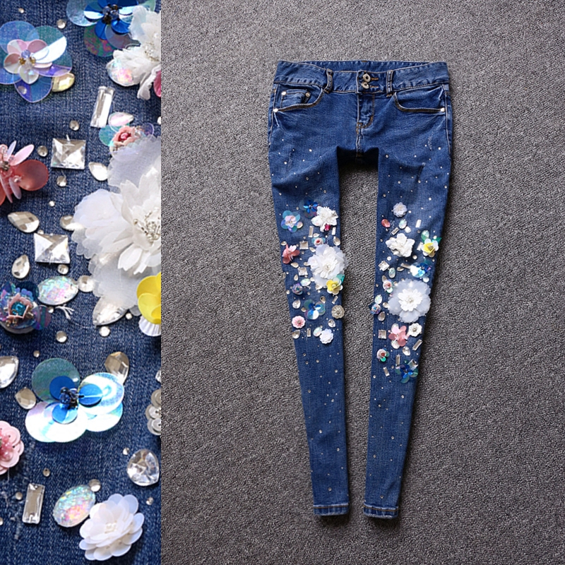 KENVY 2017 brand ladies fashion luxury three-dimensional flowers sequins diamond-studded feet jeans a three dimensional embroidery of flowers trees and fruits chinese embroidery handmade art design book