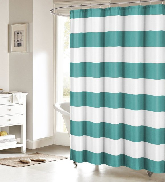 Memory Home Fabric Shower Curtain Nautical Stripe Design Teal And White Bathroom Decor Waterproof Polyester