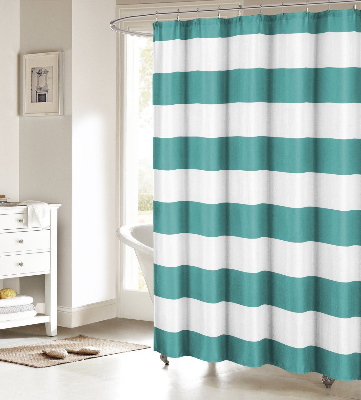 Peva shower curtain nautical design - Memory Home Fabric Shower Curtain Nautical Stripe Design Teal And White Bathroom Decor Waterproof Polyester Shower