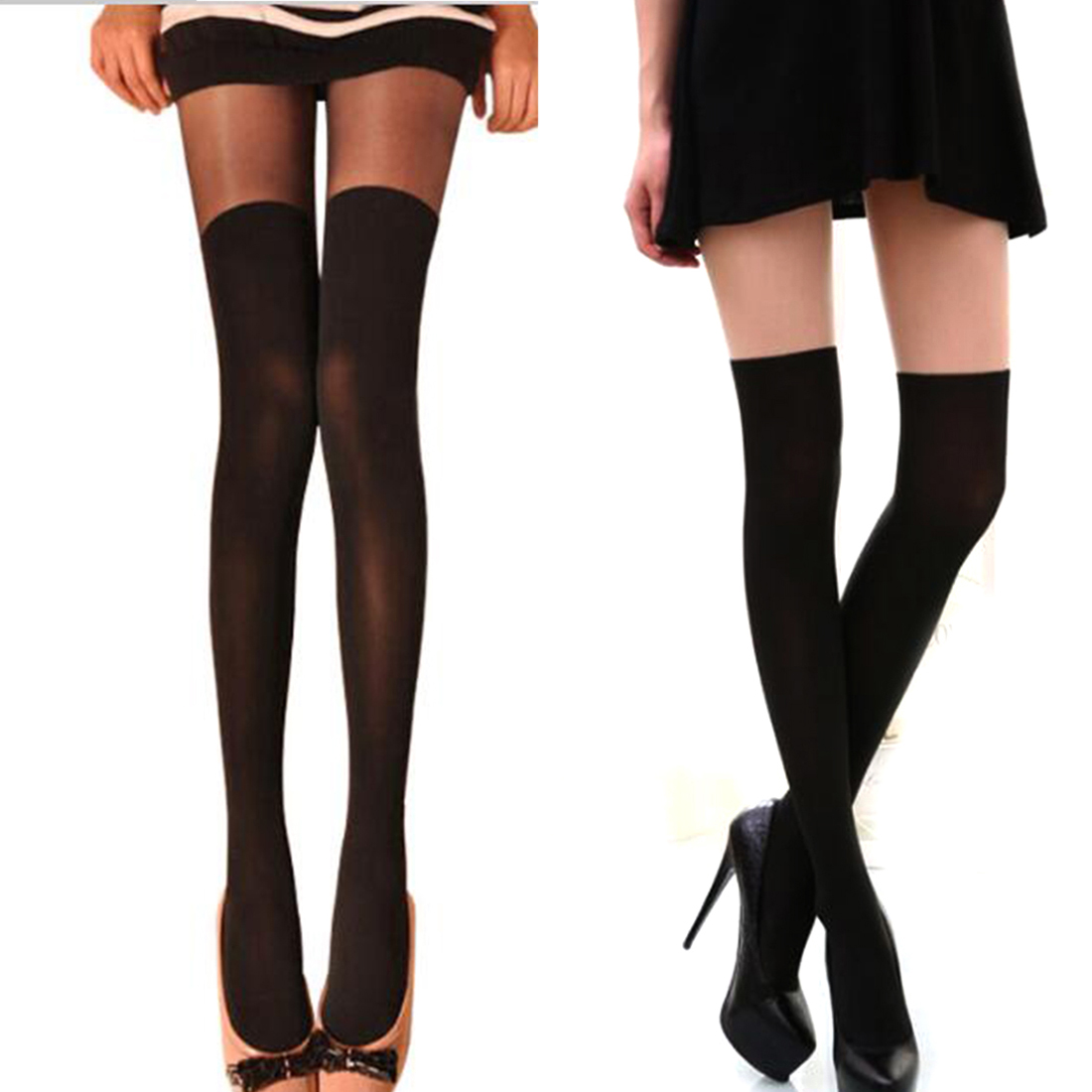 Fashion Pretty Style Women Over the Knee Tattoo Tights Black Mixed Colors Mock Ribbed Tinted Sheer False High Stocking Pantyhose
