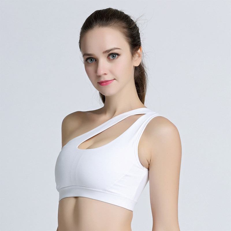 2017 Breathable Sports Bras For Female Bh Gym Lulu Yoga One Shoulder Design Gym Women Fitness Running Sportwear Top