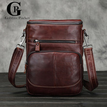 [Goblins Pocket]  Luxury Cowhide Men's Bags Genuine Leather Briefcase Business Leisure Travel Messenger Bags  Men Shoulder Bags