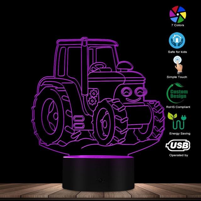 Traktor Mobil 3D Akrilik Terang Up Sign Traktor LED Ilusi Optik Malam Lampu Rumah Pertanian Deco USB Desk Light Petani lampu Hadiah