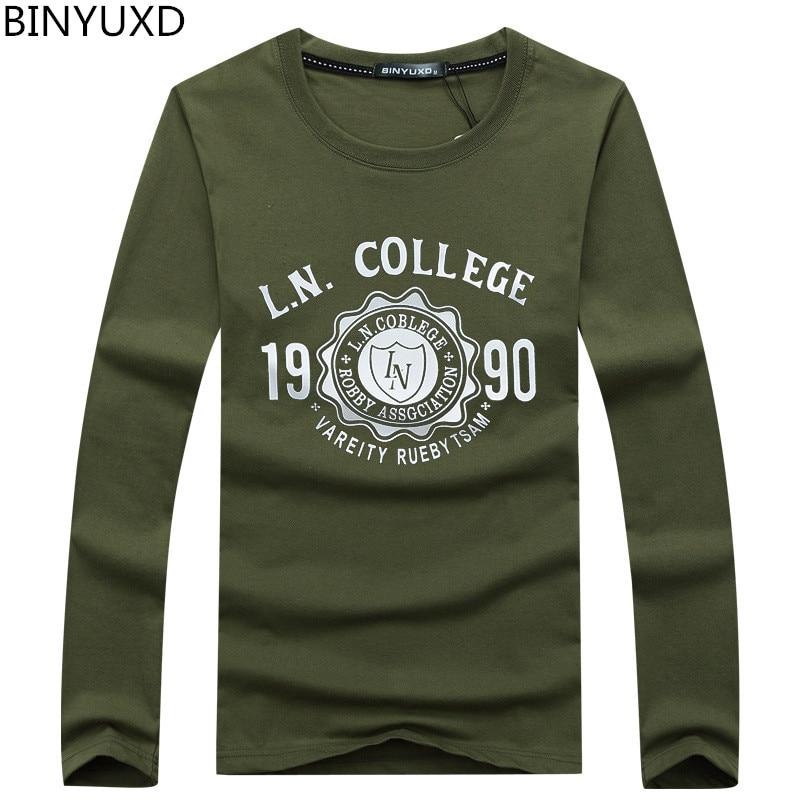 7d23334f61eaa Skup BINYUXD duże rozmiary Dla Mężczyzn Bawełniane T Koszula Jesień I Zima  Moda męska T shirt Długi Rękaw Wiosna Casual O neck T shirt muzyka  Najtaniej Ceny .