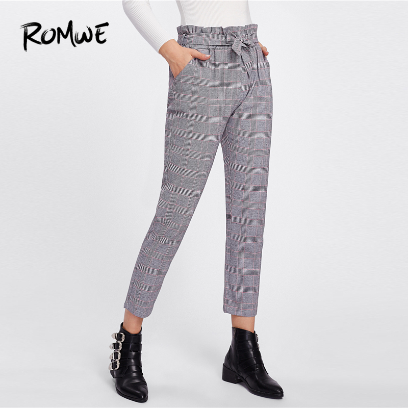 ca1fc157d701 ROMWE Tie Waist Glen Plaid Belted Frill Knot Pants Women Spring Fall Casual  Workwear Mid Waist Crop Tapered Carrot Trousers-in Pants   Capris from  Women s ...
