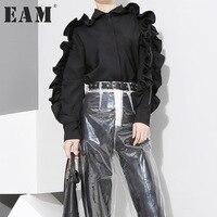 EAM 2018 Spring Fashion New Pattern Korean Solid Color Ruffles Side Long Sleeve Zipper Black