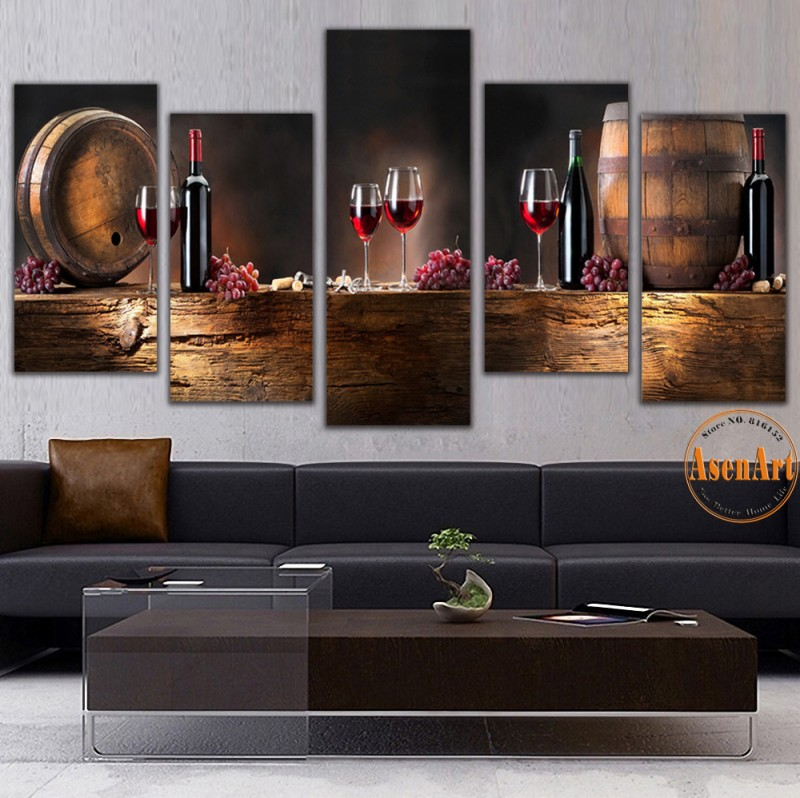 5 Panel Wall Art Fruit Grape Red Wine Glass Picture Art ...