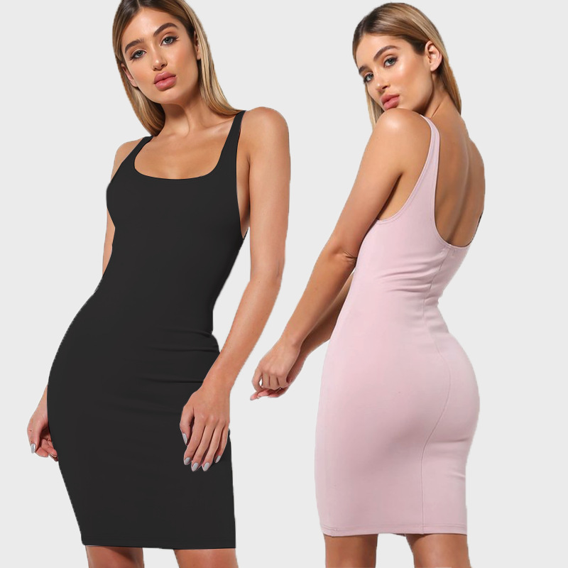 Summer Sexy Slim Women Dress Sleeveless Backless Black Dress Sheath Bodycon Package Hip Mini Club Spaghetti Strap Dresses Ladies in Dresses from Women 39 s Clothing