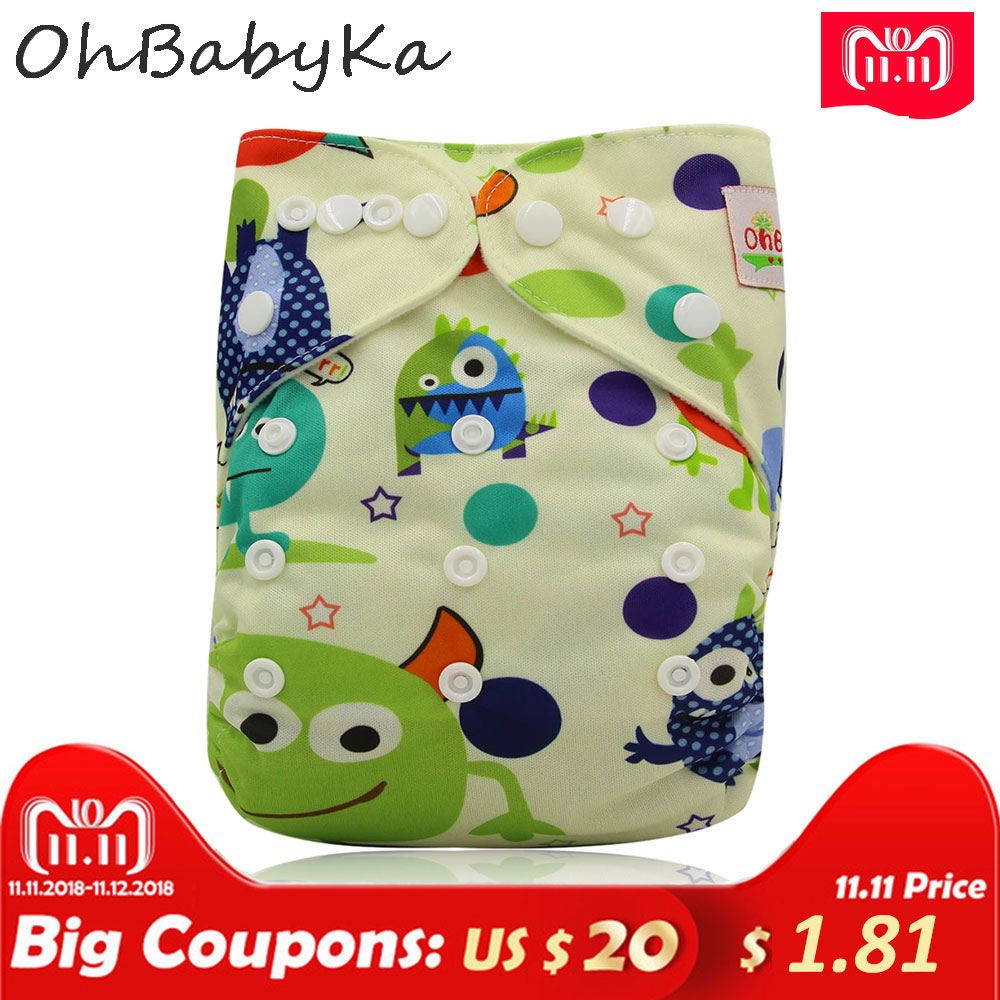 Ohbabyka One Size Pocket Cloth Diaper Washable Reusable Infant Nappy Cover Waterproof PUL Baby Cloth Diapers with Lovely Printed [mumsbest] 3pcs reusable cloth diaper cover washable waterproof baby nappy pul suit 3 15kgs adjustable boy diaper covers