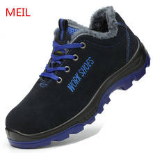 MEIL Winter Shoes Men Steel Toe Work Safety Shoes Casual Ankle Boots Puncture Proof Footwear Sneaker Warm Winter Snow Boots Men safety shoes men work steel toe breathable boots men s fashion casual safety shoe boots puncture proof protective footwear