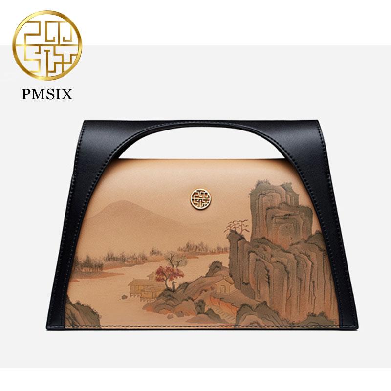 Pmsix bolso de lujo de mujer de paisaje pintado bolso de mujer de diseño Original de piel de vaca bolso de hombro Mini bolso de mano-in Cubos from Maletas y bolsas    1