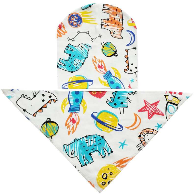 Fashion Baby Bib Cotton Baby Hats and Bandana Bib 0 to 18 Months Child cotton Baby cap and bibs 2pcs set Newborn Baby Gifts in Bibs Burp Cloths from Mother Kids