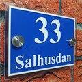 Plaques de numéros de maison en acrylique | Panneaux de porte personnalisés  signes de numéros de maison avec Film bleu et texte coloré 200mm * 1400mm