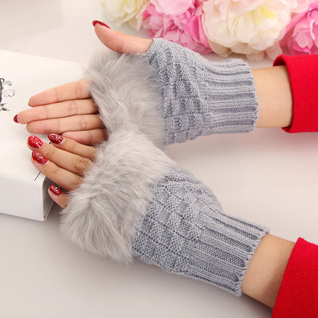 LEDINGSEN 2018 autumn winter warm faux fur gloves red knitted fashion woman black fingerless mittens white for women