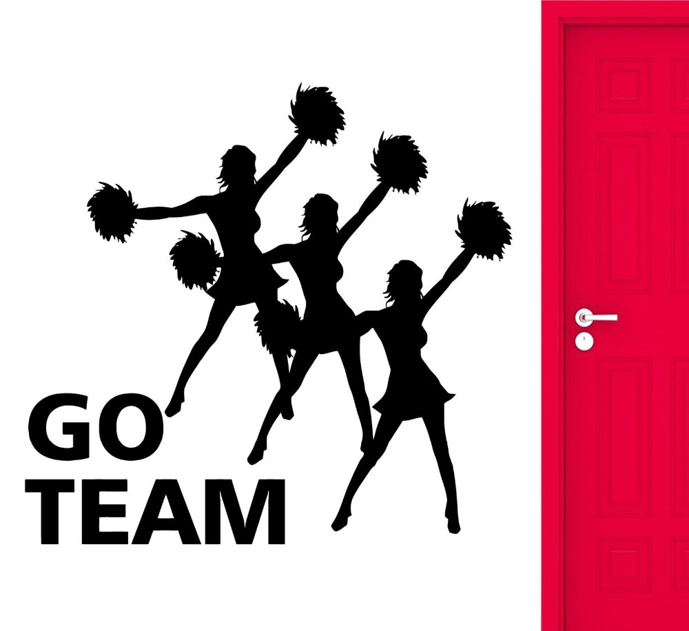 Sexy Girl Cheerleaders Wall Stickers Mustang Go Team Sports Fan Decal