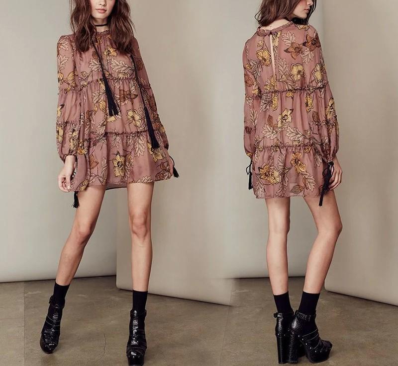women dress Autumn winter long sleeve ruffle chiffon dress Vintage loose short dress Boho floral print tassel vestidos 5