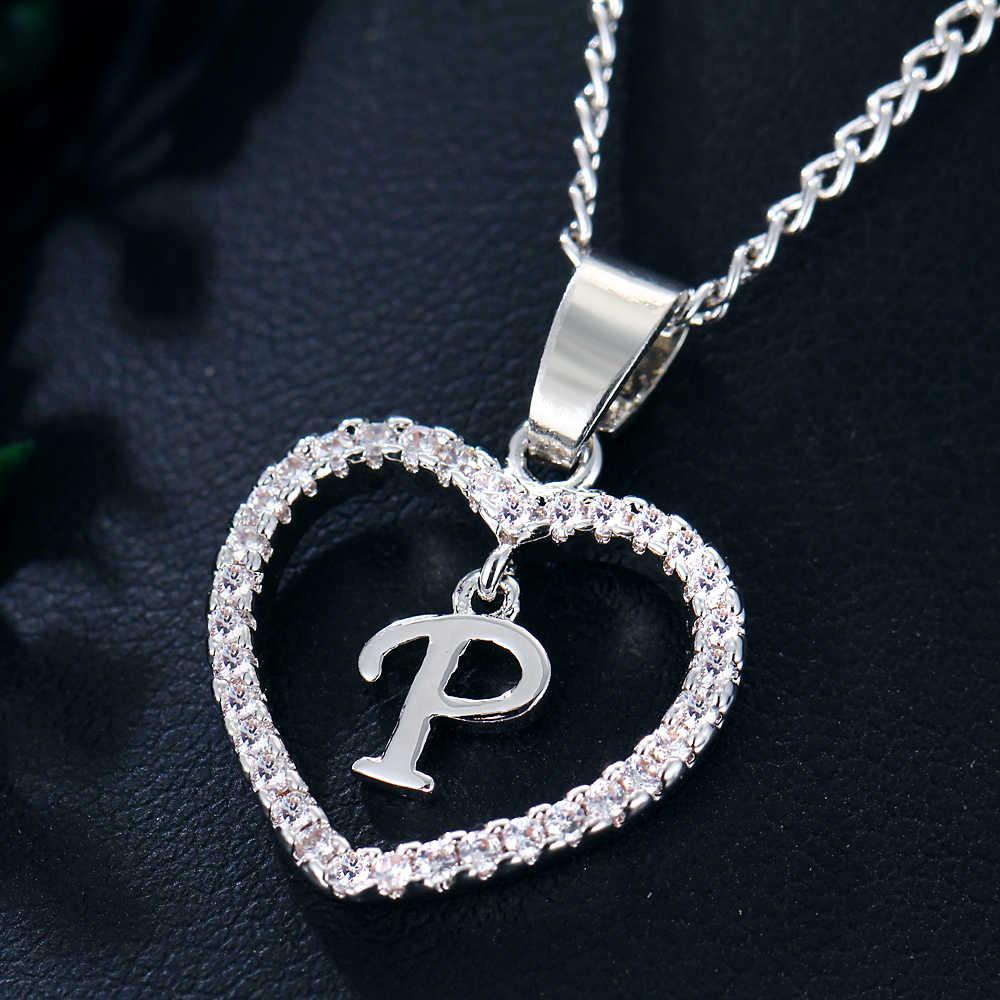Jeśli mnie początkowa P nazwa litera CZ kryształ w kształcie serca charms naszyjniki i wisiorek kobiety oświadczenie złoty kolor srebrny Choker biżuteria Collier