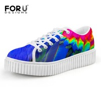 FORUDESIGNS Spring Summer Women Fashion Creepers Shoes Stylish Feather Pattern Woman Flats Lace Up Ladies Platform