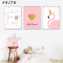 NDITB Cartoon Flamingo Diamond Poster Nursery Wall Art Canvas Print Painting Nordic Decoration Picture for Girls Bedroom