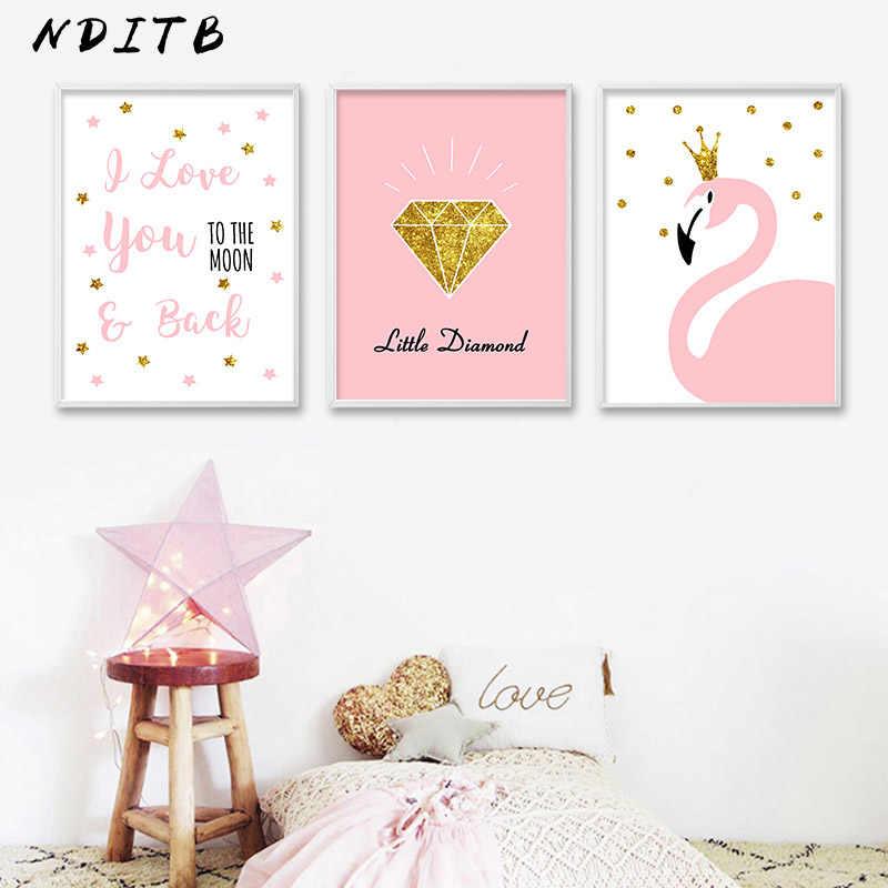 NDITB мультфильм Фламинго Алмазный плакат настенная живопись садик холст печать живопись Скандинавское украшение Настенная картина для девочек спальня