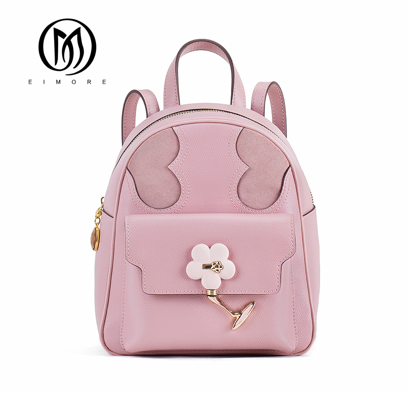EIMORE Leather Backpack Women Bags Genuine leather Preppy Style Backpack Girls School Bags Zipper Leather Backpack For Teenger