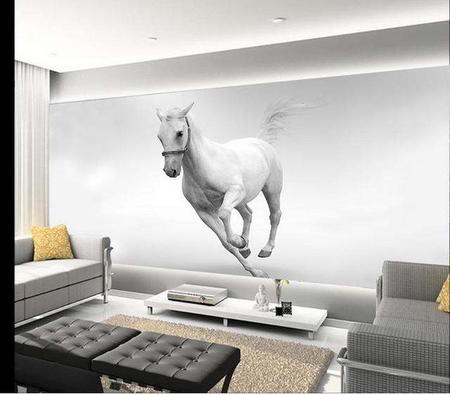living horse sofa background 3d painting tv mural run custom zoom woven non mouse