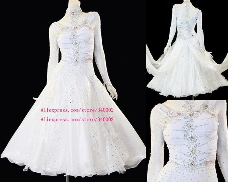 Standard Ballroom Dance Dress 2019 New Elegant White Color Ballroom Competition Dance Dresses Women Dancing Skirt