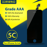 100 No Dead Pixel Black LCD Screen For IPhone 5C Display With Digitizer Touch Screen Replacement